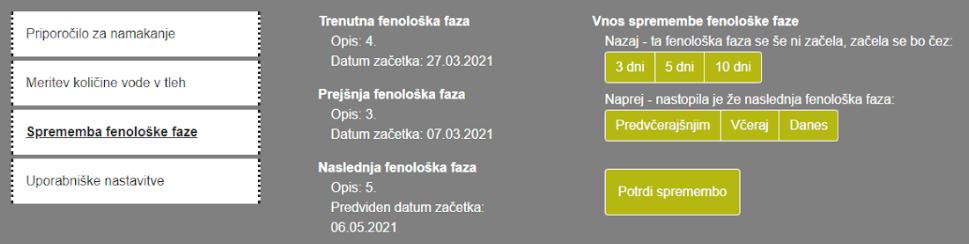 Spremljanje fenološke faze na spletni strani SPON.